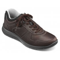 Hotter Fleet Std Fit Dark Brown Waxed Nubuck Trainer Style Shoe