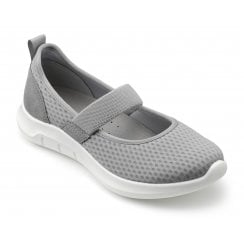 Flow Pebble Grey Std Fit Flat Mary Jane Style Shoe