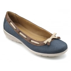Gem Blue River/Tan Leather Flat Ballerina Style Shoe