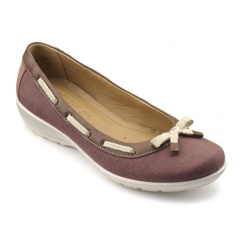 Hotter Gem Salmon/Tan Leather Flat Ballerina Style Shoe