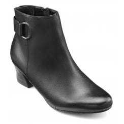 Glee Black Leather Std Fit Leather Heeled Ankle Boot