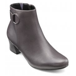 Glee Gunmetal Leather Std Fit Leather Heeled Ankle Boot