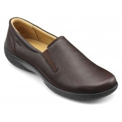 Glove Chestnut Wide Fit Leather Flat Slip On Shoe
