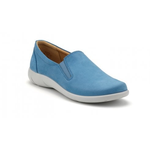 Hotter Glove French Blue Wide Fit Nubuck Flat Slip On Shoe