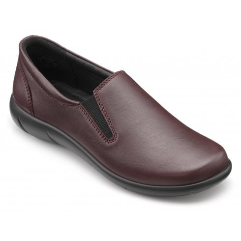 Hotter Glove Maroon Std Fit Leather Slip On Shoe