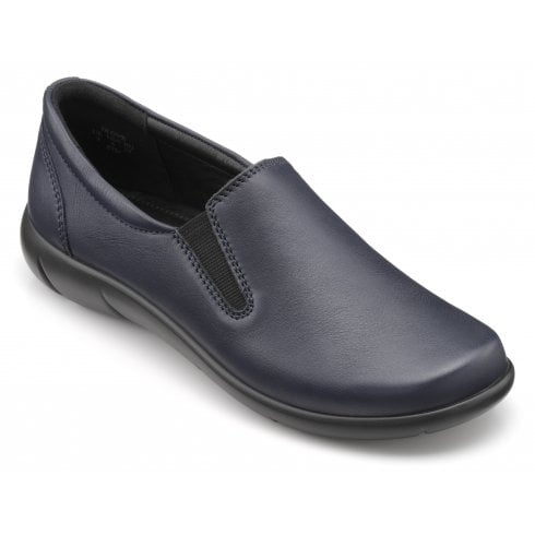 Hotter Glove Navy Wide Fit Leather Slip On Shoe