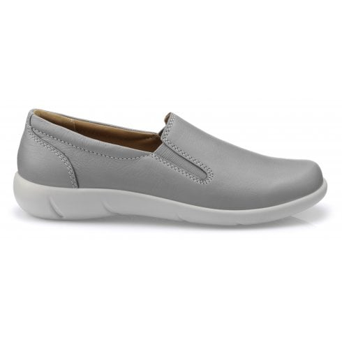 Hotter Glove Pebble Grey Std Fit Leather Slip On Shoe