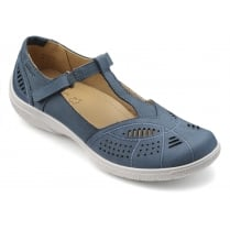 Grace Blue River Nubuck Flat T-bar Style Shoe