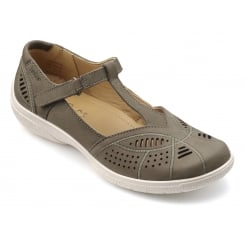 Grace Dark Stone Nubuck Flat T-bar Style Shoe