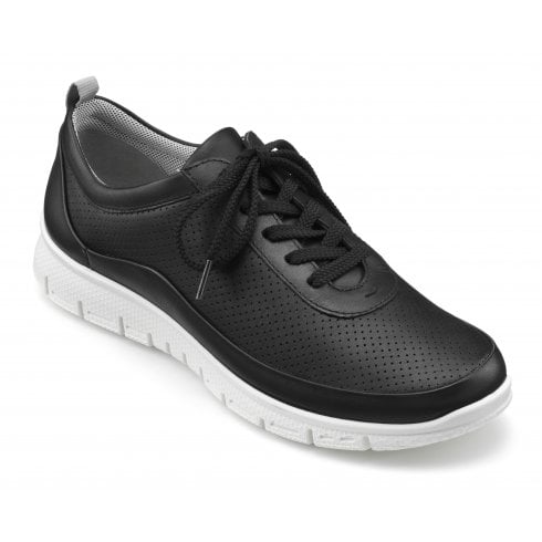 Hotter Gravity Black Std Fit Leather Flat Trainer Style Shoe