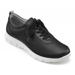 Gravity Black Std Fit Leather Flat Trainer Style Shoe