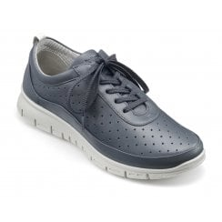 Gravity Indigo Leather Std Fit Flat Lace Up Trainer Style Shoe