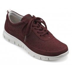Gravity Maroon Nubuck Std Fit Flat Lace Up Trainer Style Shoe