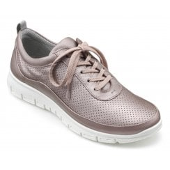Gravity Mauve Metallic Std Fit Leather Flat Trainer Style Shoe
