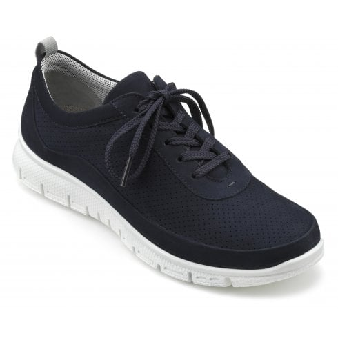 Hotter Gravity Navy Std Fit Nubuck Flat Trainer Style Shoe