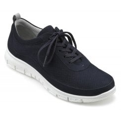 Gravity Navy Std Fit Nubuck Flat Trainer Style Shoe