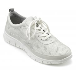 Gravity White Std Fit Leather Flat Trainer Style Shoe