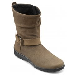 Groove Brown Nubuck Std Fit Flat Mid-calf Boot