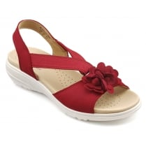 Hannah Tango Red Nubuck Flat Slip On Sandal