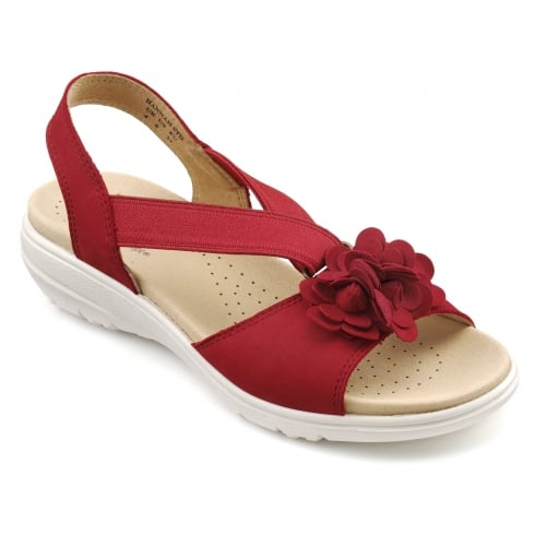 Hotter Hannah Wide Fit - Tango Red Nubuck