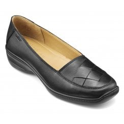 Havana Black Leather Std Fit Slip On Shoe