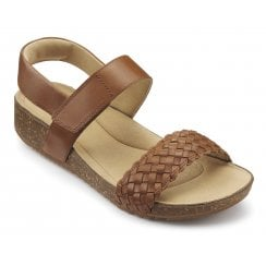 Haven Dark Tan Std Fit Leather Flat Velcro Sandal