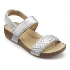 Haven Platinum Std Fit Leather Flat Velcro Sandal