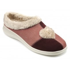 Heart Salmon Std Fit Suede Mule Slipper