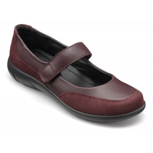 Hotter Hope Maroon Wide Fit Leather Flat Mary Jane Style Shoe