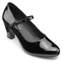 Jada Black Std Fit Patent Leather Heeled Mary Jane Style Shoe