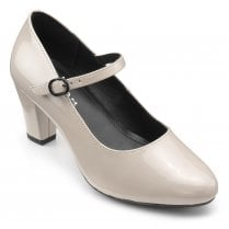 Jada Nude Std Fit Patent Leather Heeled Mary Jane Style Shoe
