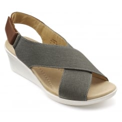 Jasmine Dark Stone Cross Over Wedge Sandal