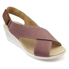 Jasmine Salmon Multi Cross Over Wedge Sandal