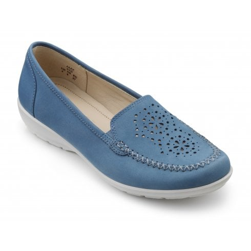 Hotter Jazz French Blue Std Fit Nubuck Loafer Style Shoe