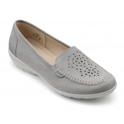 Jazz Pebble Grey Wide Fit Nubuck Loafer Style Shoe