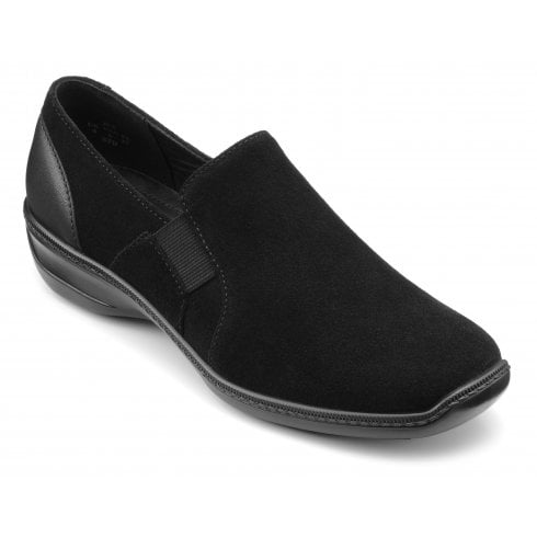 Hotter Jet Black Std Fit Suede/Leather Flat Slip On Shoe
