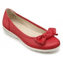 Jewel Blood Orange Wide Fit Leather Flat Ballet Pump Shoe