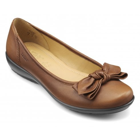 Hotter Jewel Dark Tan Leather Wide Fit Flat Ballet Pump Shoe