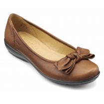 Jewel Dark Tan Leather Wide Fit Flat Ballet Pump Shoe