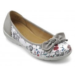 Jewel Grey Floral Std Fit Nubuck Flat Ballet Pump Shoe