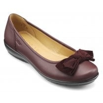 Jewel Maroon Leather Wide Fit Flat Ballet Pump Style Shoe