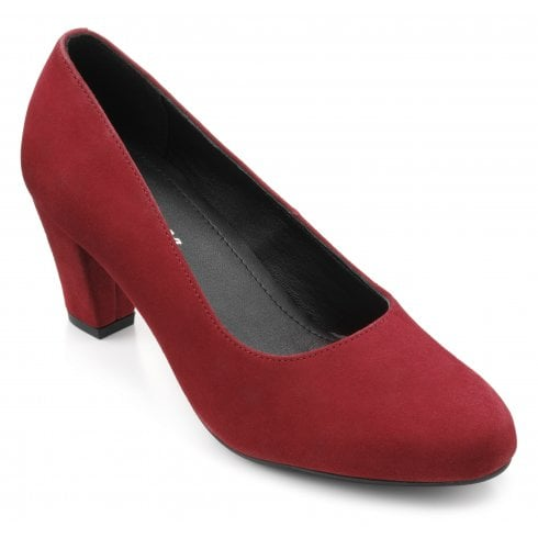 Hotter Joanna Claret Std Fit Suede Heeled Court Shoe
