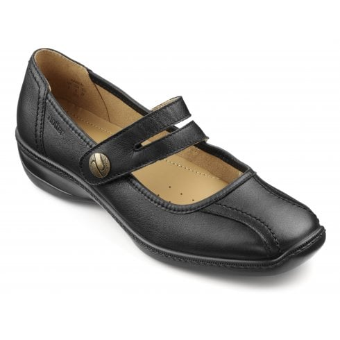 Hotter Karen Wide Fit Black Leather Flat Mary Jane Style Shoe