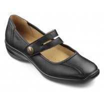 Karen Wide Fit Black Leather Flat Mary Jane Style Shoe