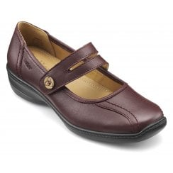 Karen Wide Fit Maroon Leather Flat Mary Jane Style Shoe