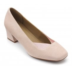 Katya Wide Fit Powder Pink Suede Heeled Court Shoe