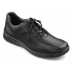 Lance Std Fit Jet Black Leather Lace Up Shoe