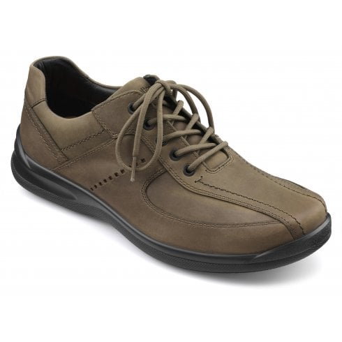 Hotter Lance Std Fit Mushroom Waxed Nubuck Lace Up Shoe