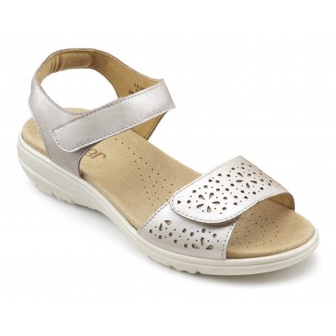 Hotter Leah Iridescent Std Fit Leather Flat Velcro Strap Sandal