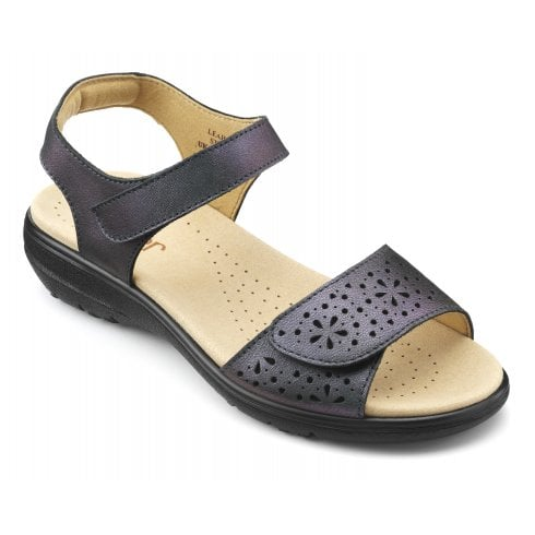Hotter Leah Petrol Metallic Std Fit Leather Flat Velcro Strap Sandal